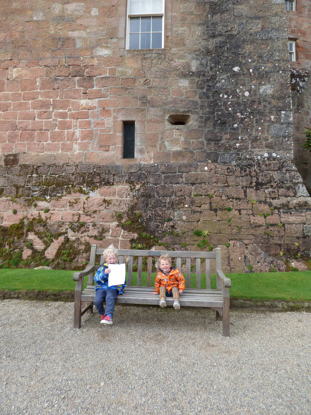 Two children on a bench at Brodick Castle