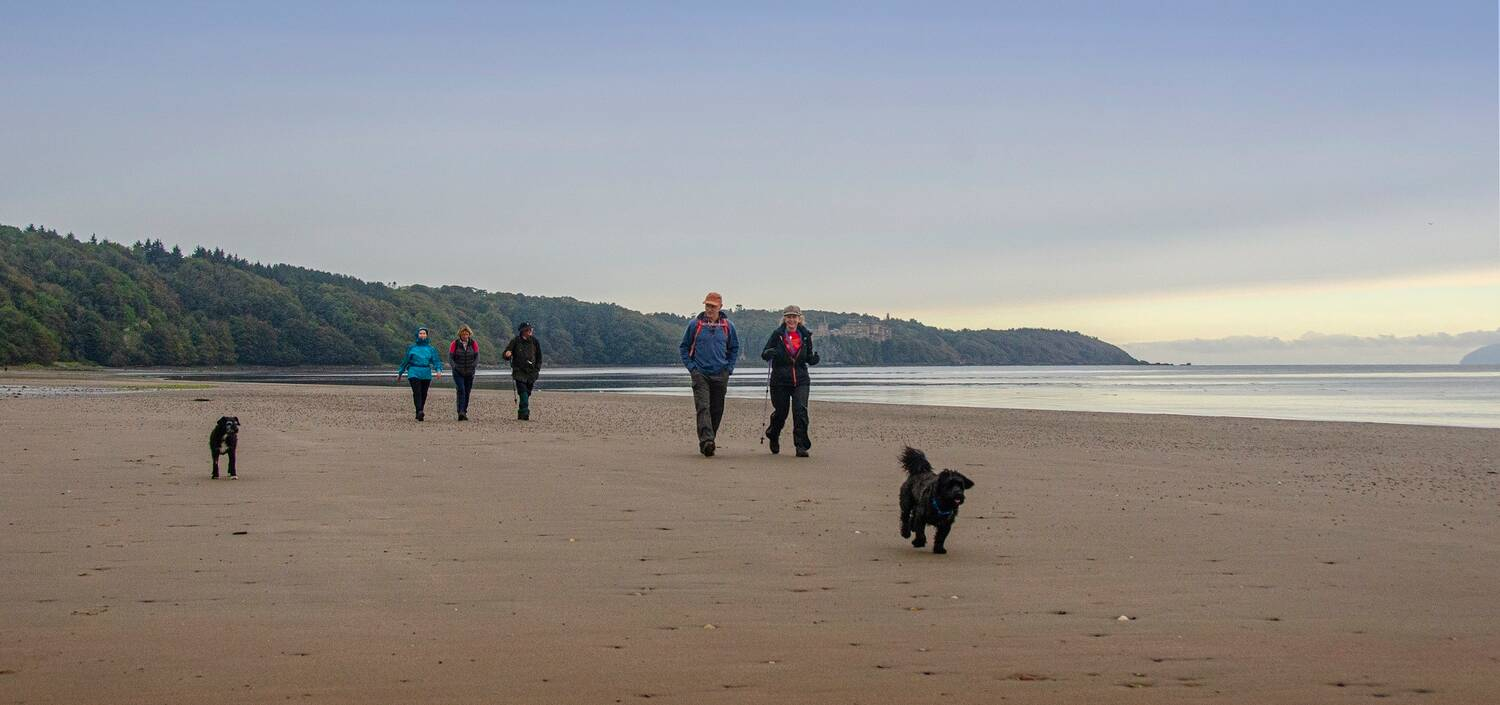 A small group of people walk along a sandy beach, with two dogs running beside them. Culzean Castle can be seen on the cliff top in the background. The walkers are well wrapped up, with waterproof clothing.