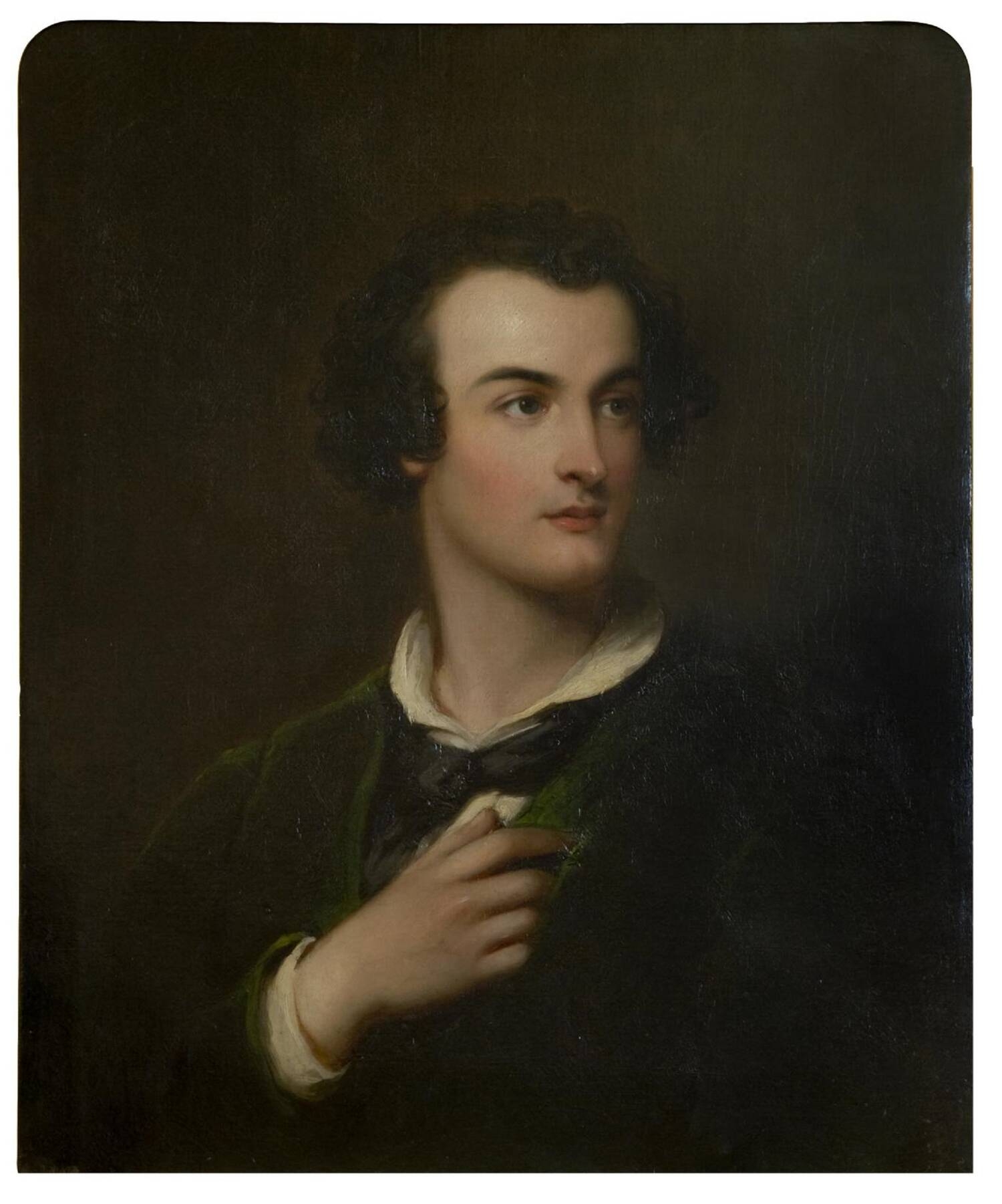 A half portrait of a young Georgian man, wearing a green velvet jacket. He holds one hand to his heart, and is looking off to the side, in a somewhat romantic pose. He has dark curly hair that falls to his ears.