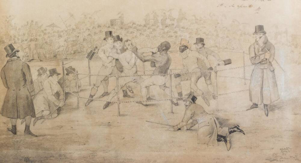 A close-up detail of a watercolour illustration of a boxing match, mostly in sepia and grey tones. Two boxers deliver blows to each other's face in a fenced-in boxing ring, with two trainers behind each boxer. A large crowd is shown watching the fight.