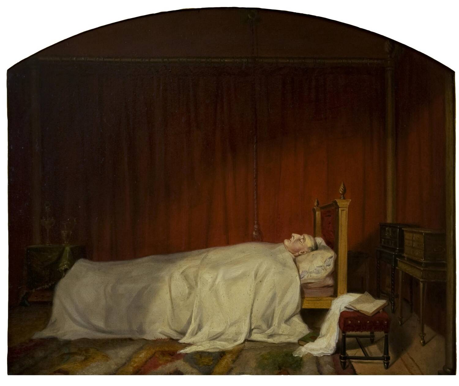 An oil painting, with a rounded top, of a very pale man lying in bed. He is covered by a white sheet up to his neck. A book lies open on a footstool by his bed.