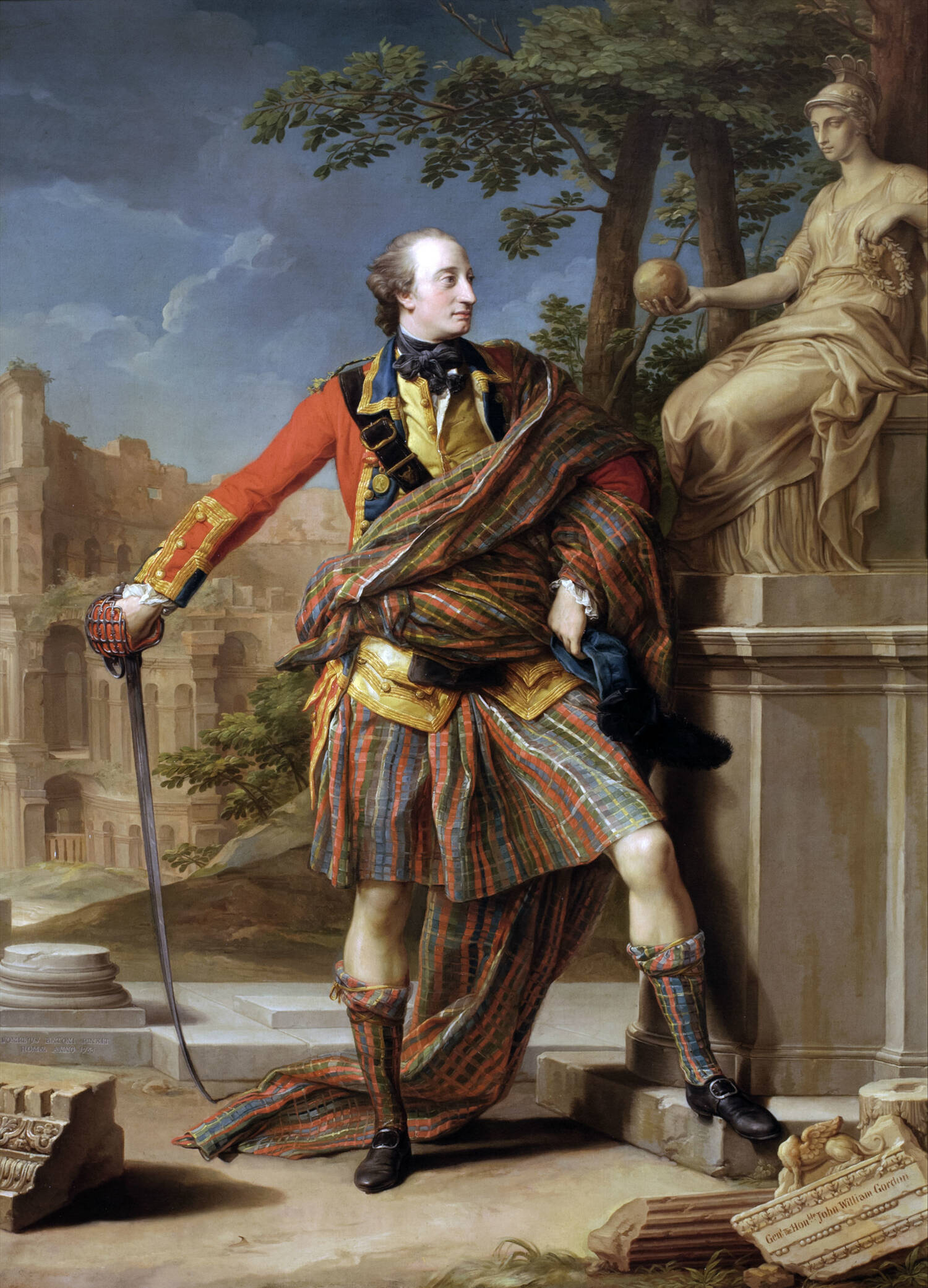 The portrait of Colonel William Gordon, painted by Pompeo Batoni in 1766. The tartan-clad Gordon stands with one hand on his hip, the other resting on his sword. There is a classical background.