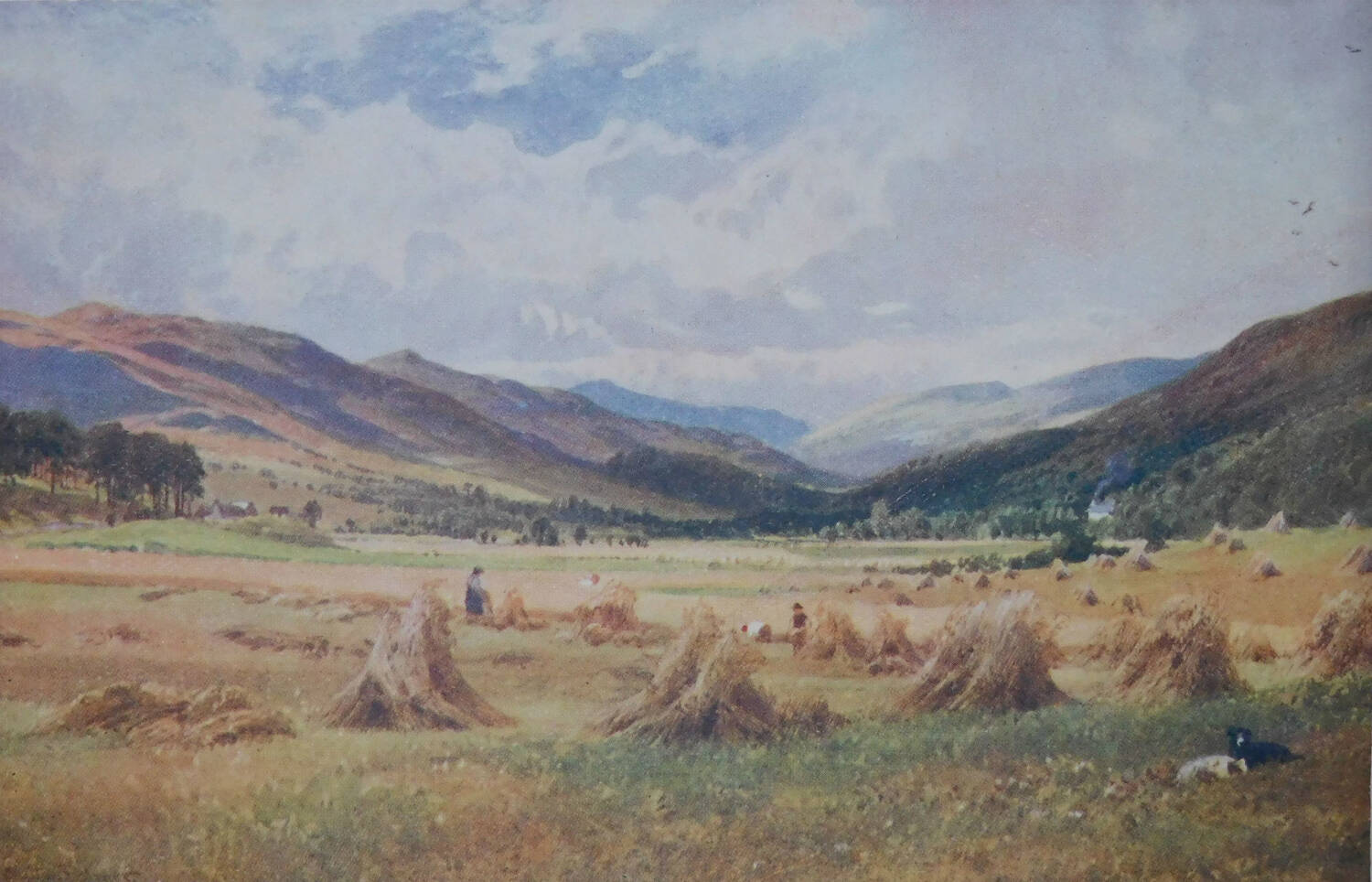 A painting of Glen Lochay with wide open fields and corn stacked into stooks for drying. People are working in the fields and two sheepdogs lie in the foreground. Smoke rises from the chimney of a house in the distance.