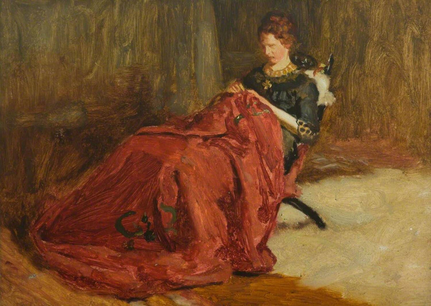 An oil painting of a woman sitting on a wooden chair in an interior. She wears a green dress, and is embroidering a large red cloth which covers her legs.