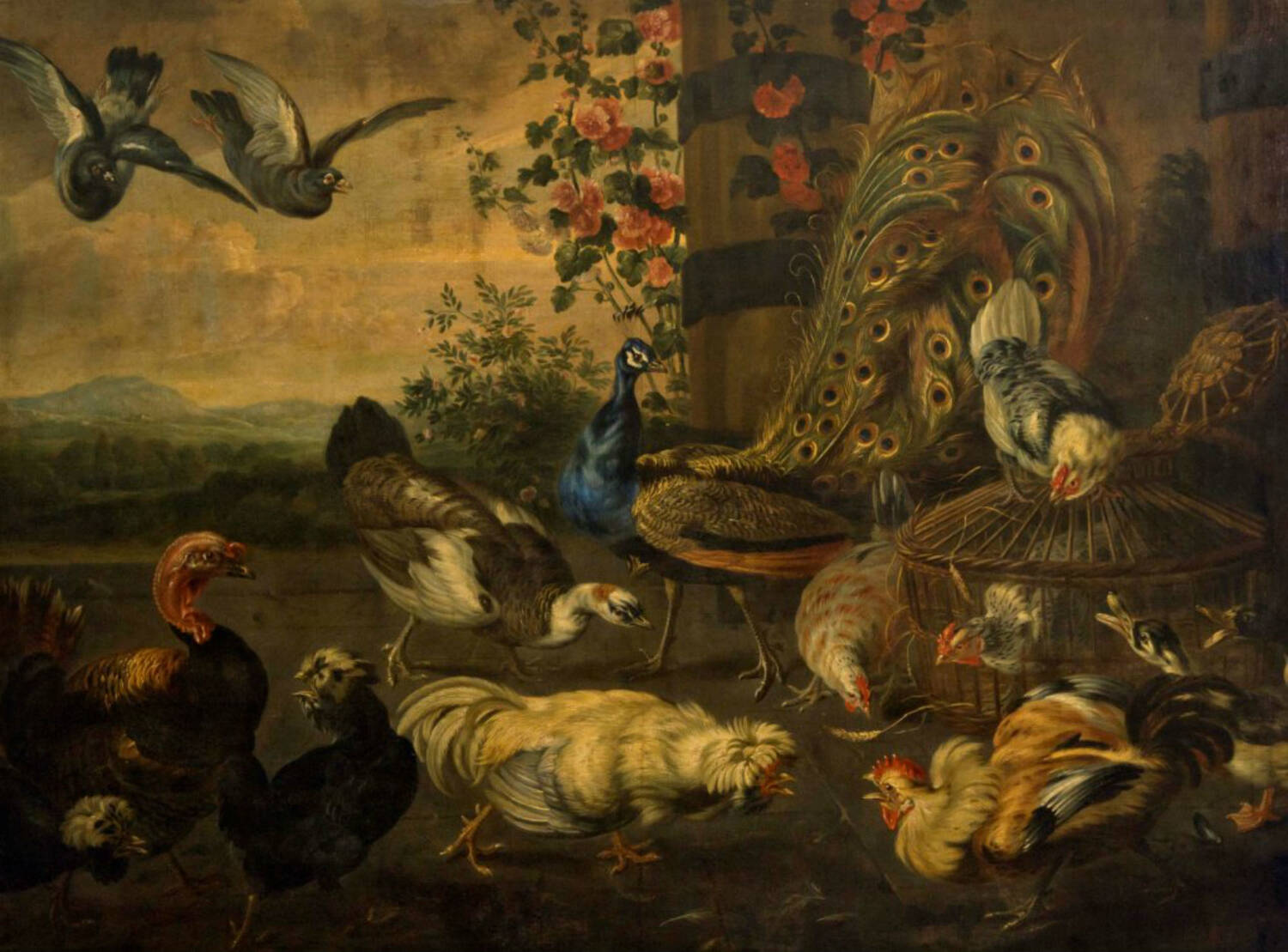 A 17th-century oil painting at Hill of Tarvit showing an array of fighting birds. Chickens, ducks and a peacock stand on the ground, pecking at each other. Two pigeons are swooping down from the sky in the top left.