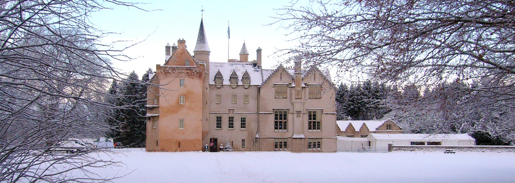 Brodie Castle exterior in the snow