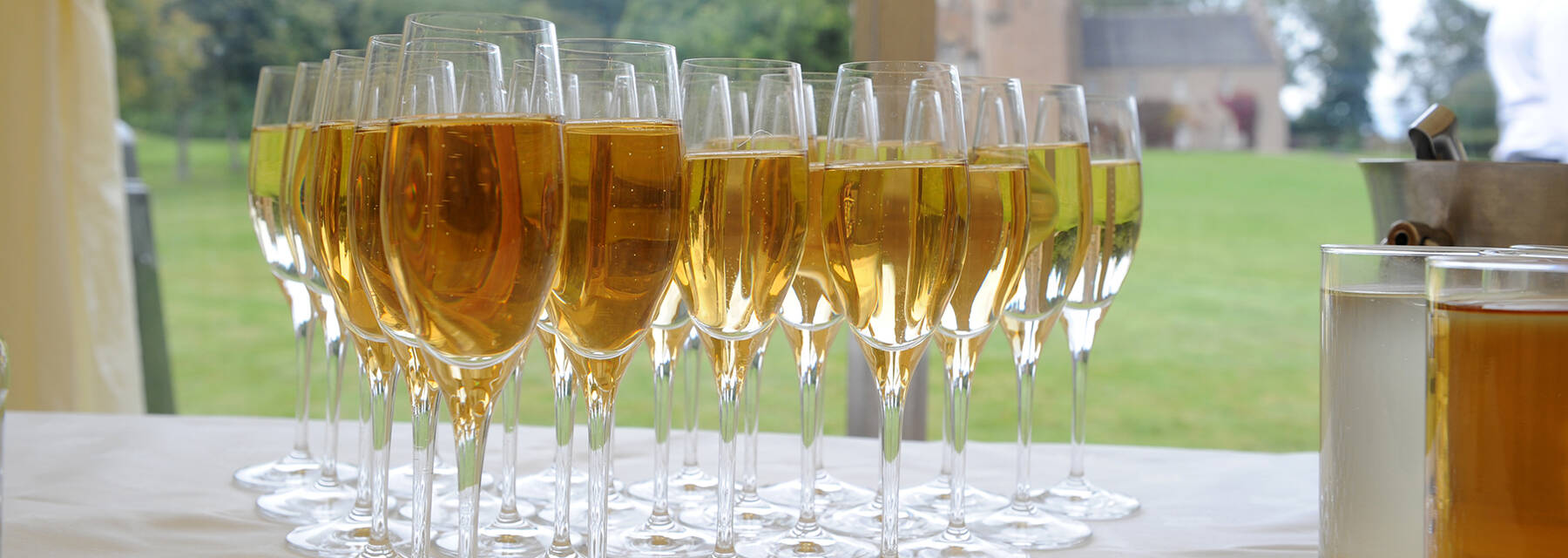 Filled wine glasses at Crathes Castle