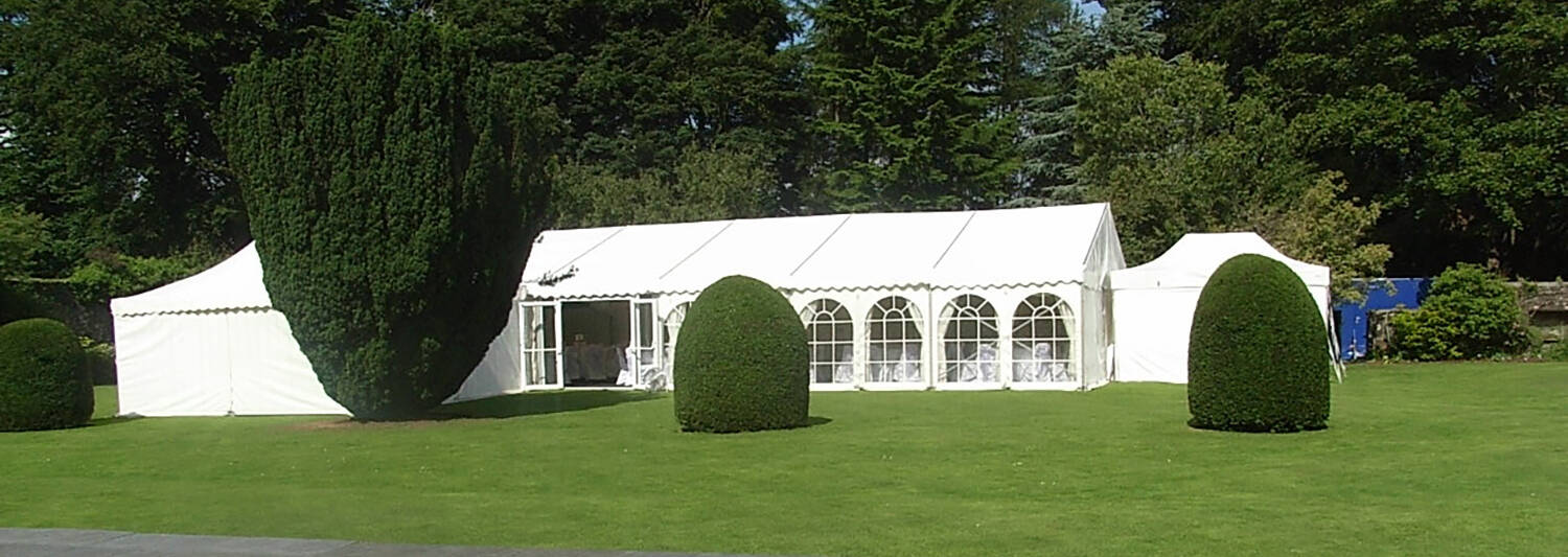 Marquee on the lawn at Greenbank Garden