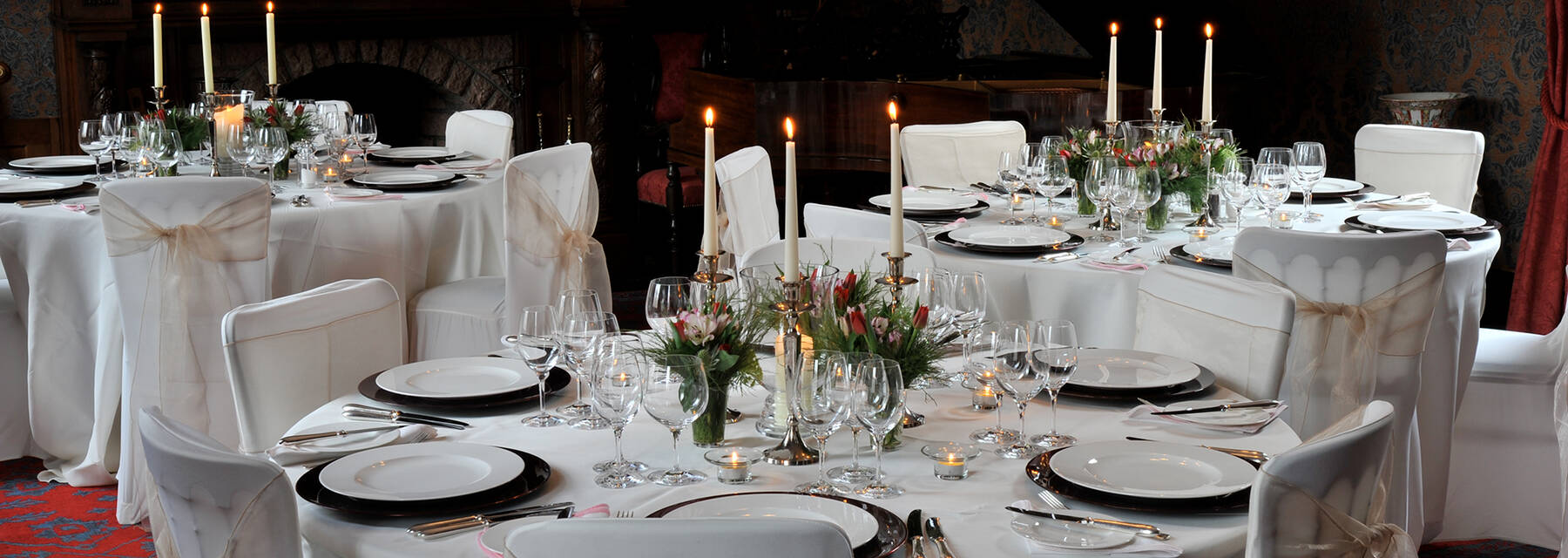 Leith Hall Saloon set out for a dinner party