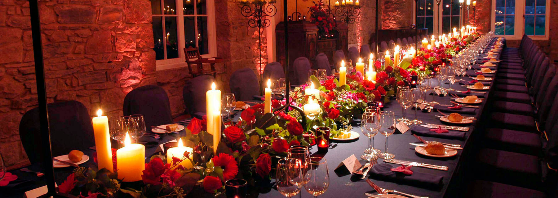 A dining room at Mar Lodge set for a private dinner