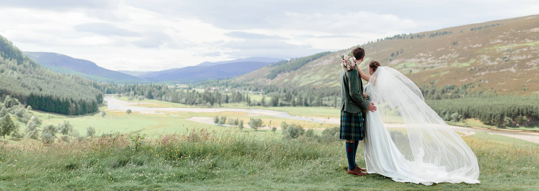 Wedding couple at Mar Lodge Estate