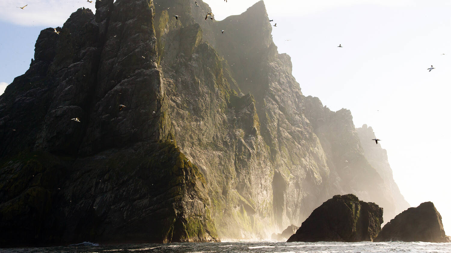 A photograph of Boreray, St Kilda showing sheer, steep rock faces rising dramatically out of the sea.