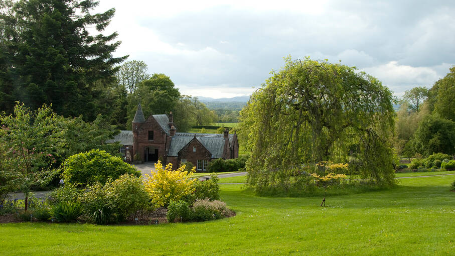 ​Trees and plants surround Threave's Stables Courtyard and Café