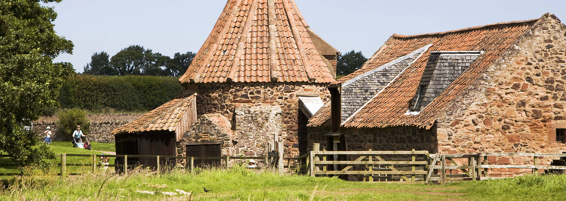 Preston Mill, a watermill with a Dutch-style conical roof