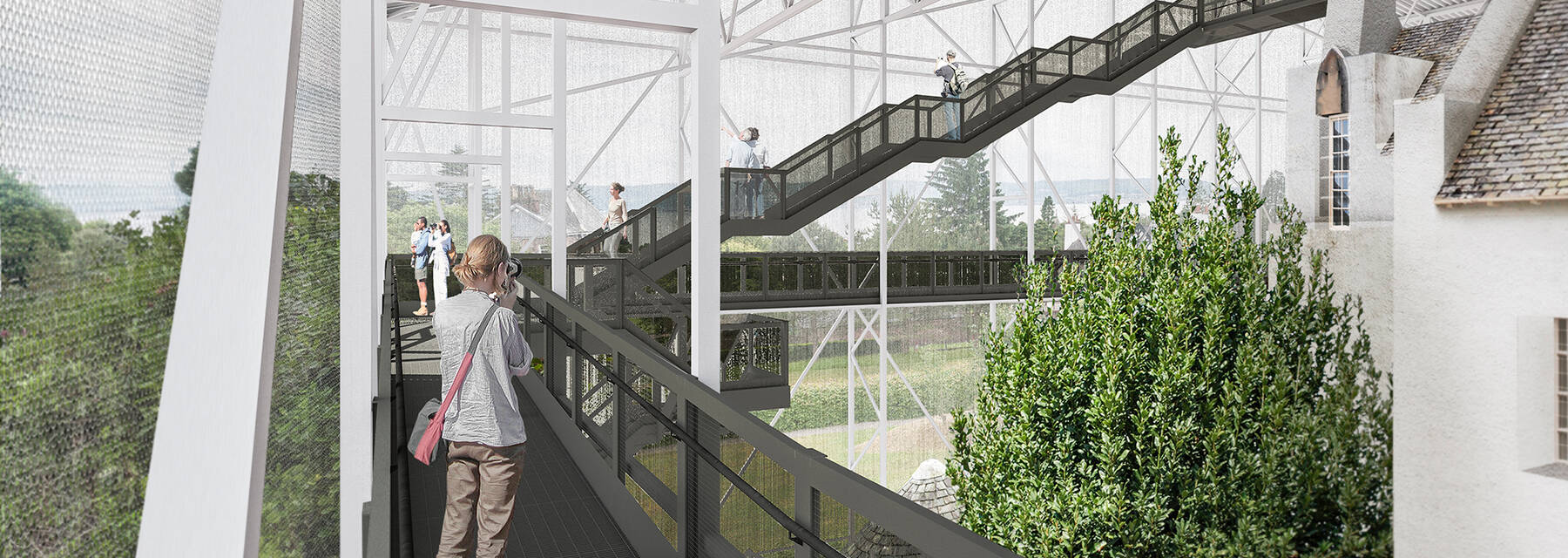 An artist's impression of the roof-top walkway of the Box