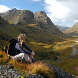 Hillwalker admiring view at Glencoe