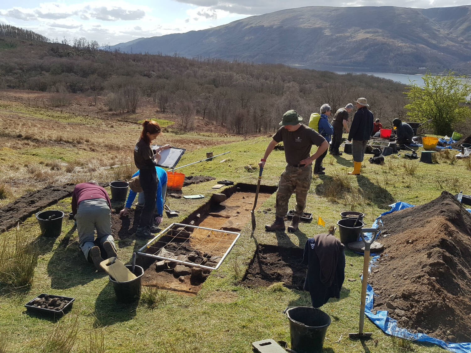 Excavating one of the bloomery mounds on Ben Lomond