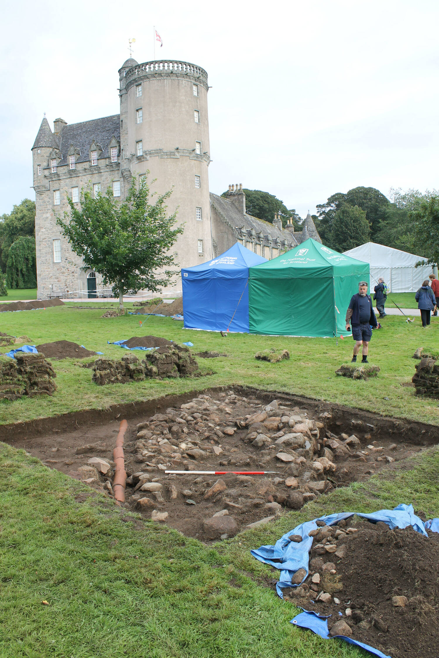 Archaeological excavation on the lawn in front of Castle Fraser