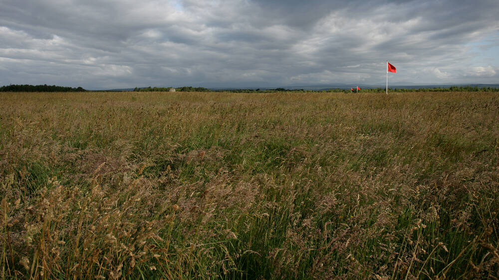 A line of red flags stand on a vast and empty moor.