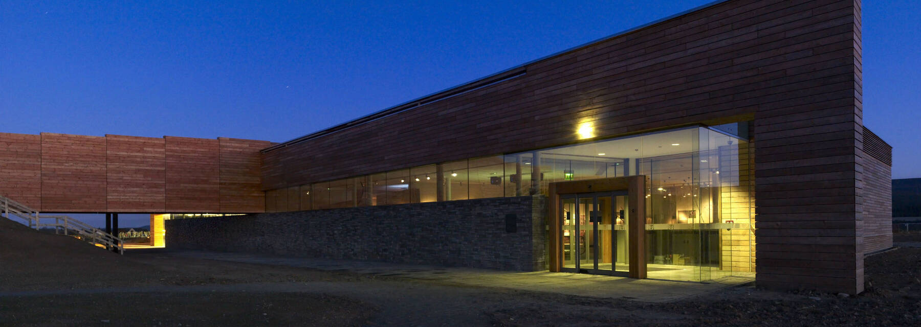 Culloden Visitor Centre at night