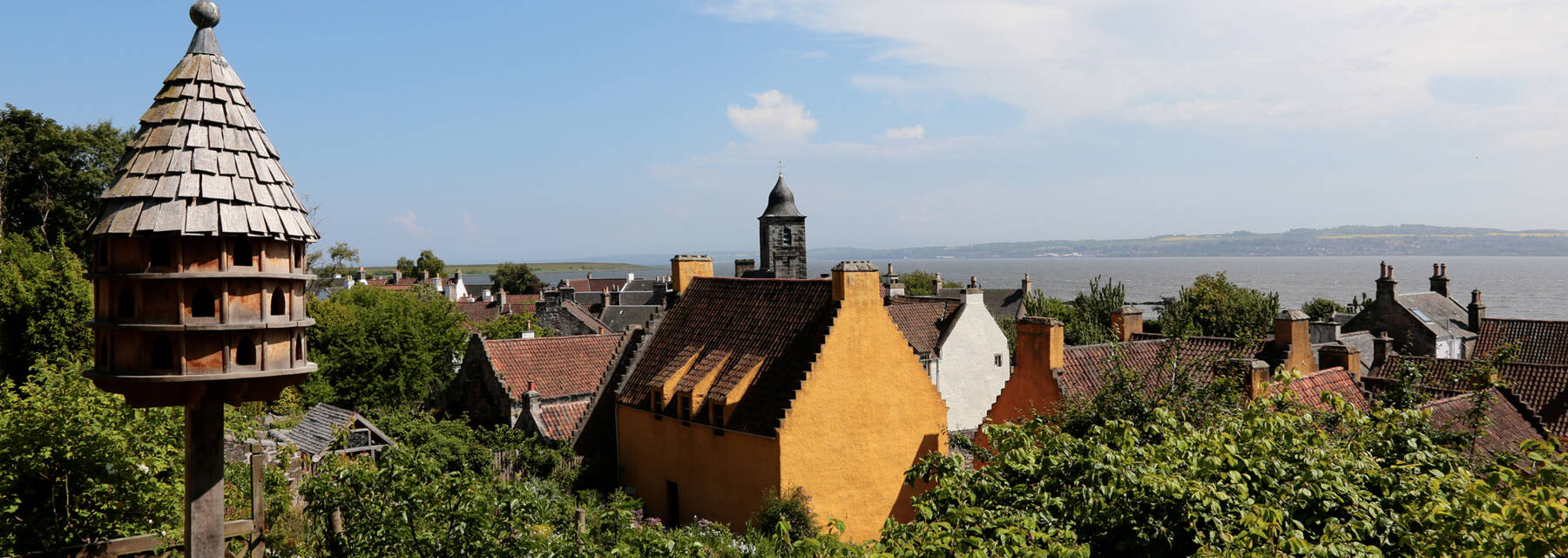 View over Culross with birdtable in foreground