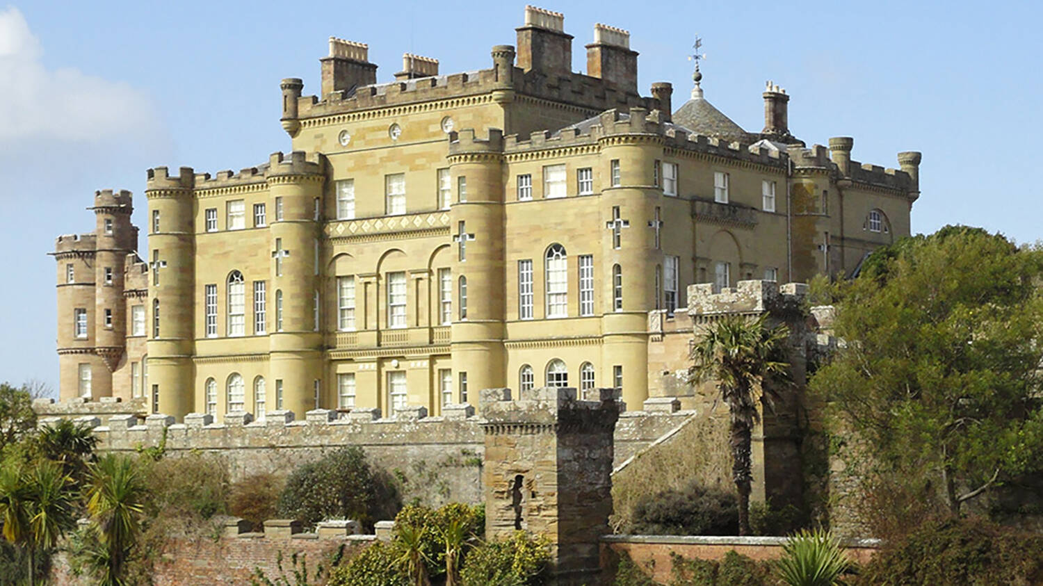 A close-up of Culzean Castle seen from the lawn in front.