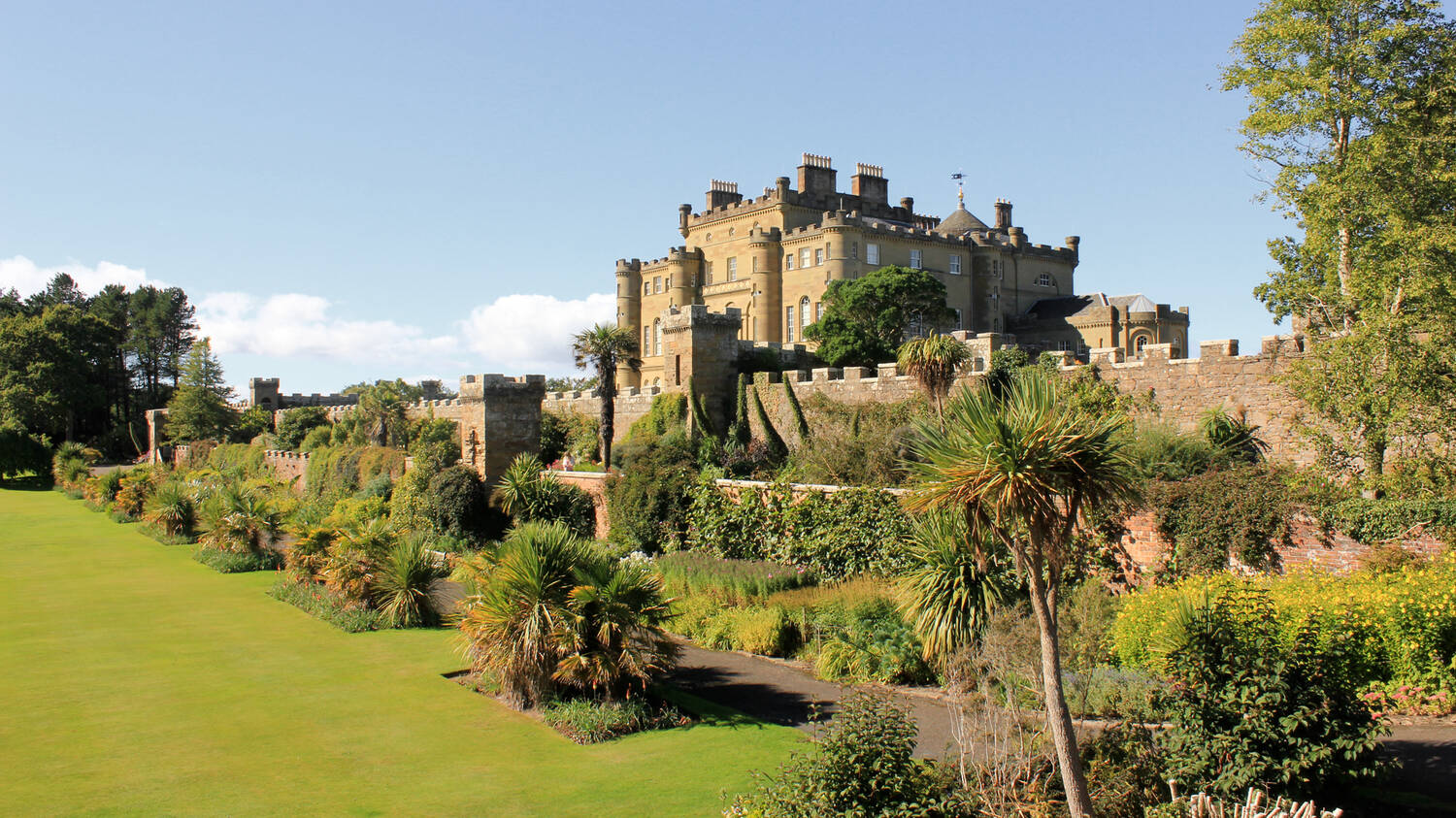Culzean Castle seen from the Fountain Court. The sky is blue and the lawn in the foreground is manicured. Various palm trees line the path in the garden.