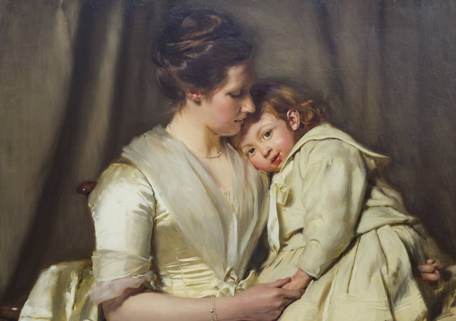 Cropped image of a painting showing a lady in period clothes gazing at a child who is resting against her shoulder.