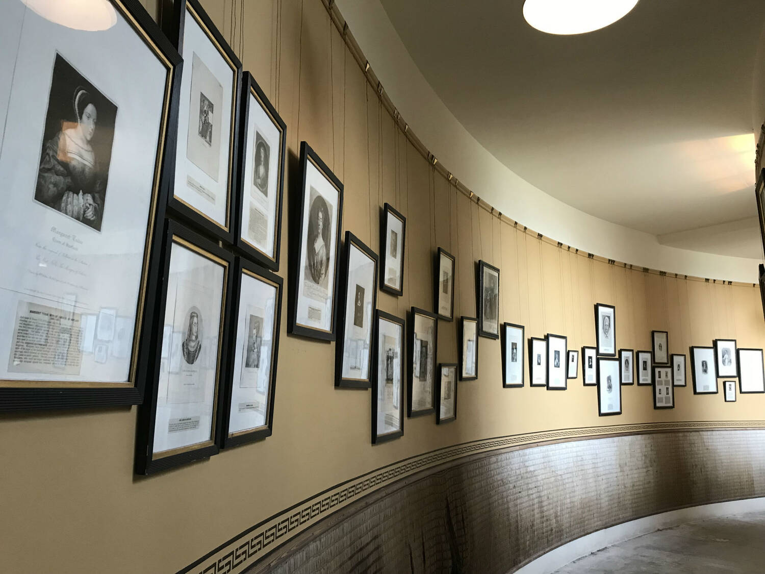 A collection of prints lining the walls in Haddo House's South Quadrant