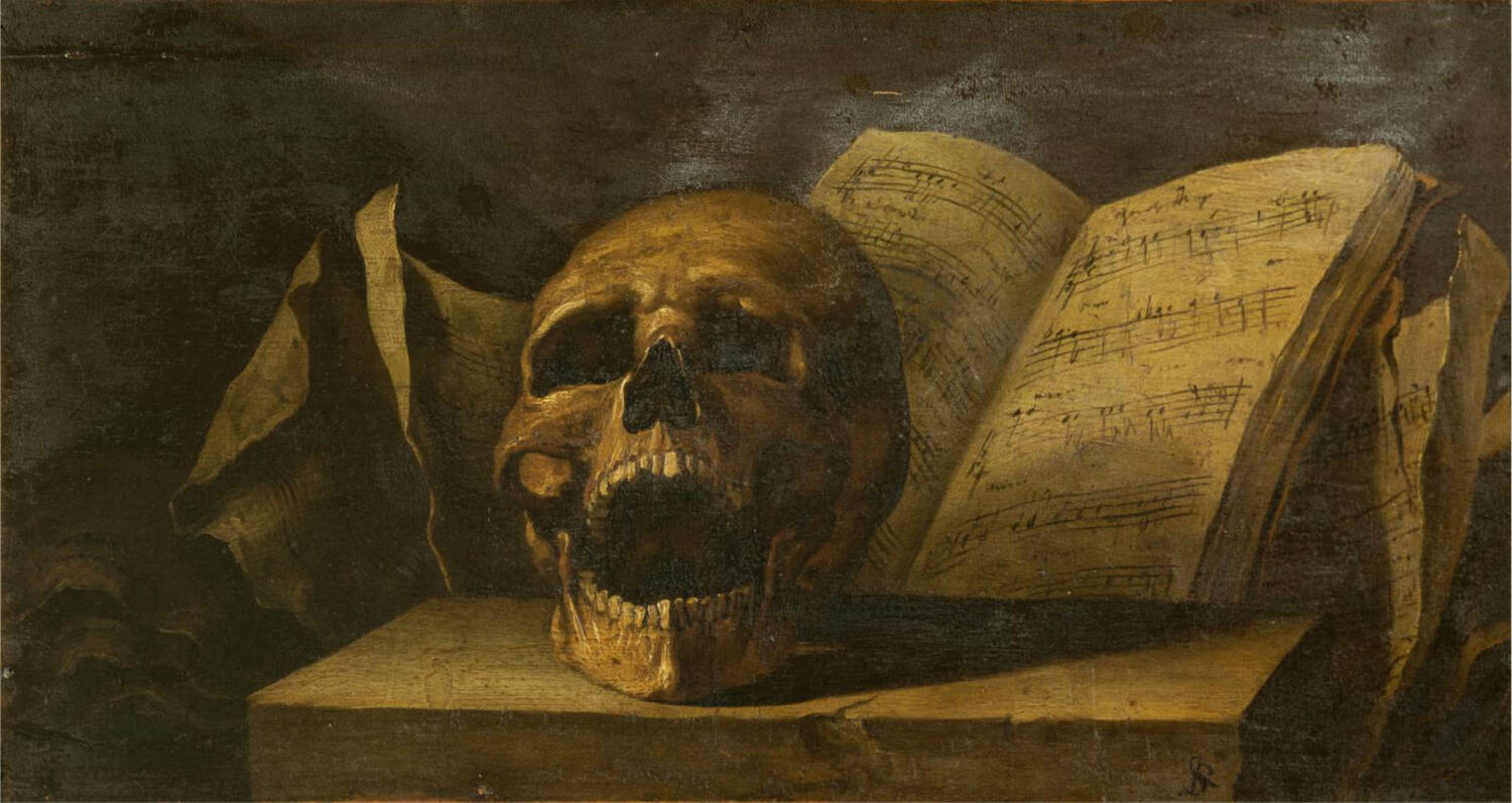 Oil painting of an open-mouthed skull with a musical score in the background