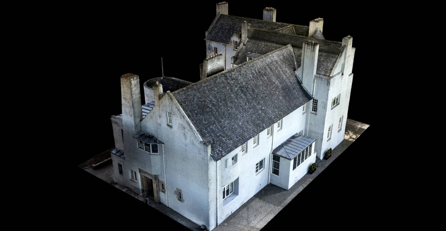 Bird's-eye view of a 3D model of the Hill House.