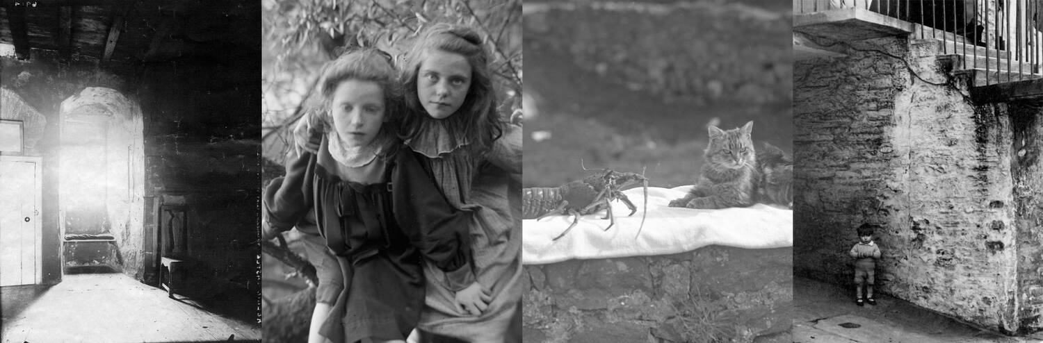 Banner of four different images: Kellie Castle tower; two girls; cat and crayfish; small boy in front of wall