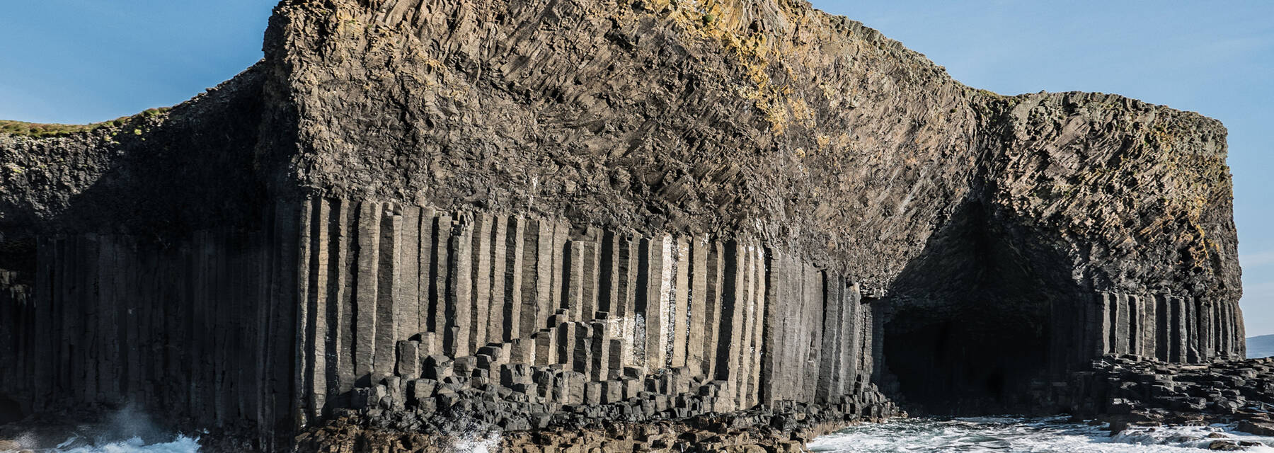 The entrance to Fingal's Cave showing the basalt rock columns