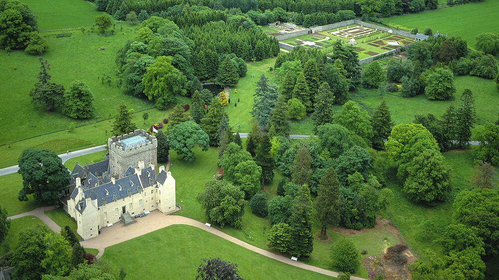 Ariel view of Drum castle and woodland