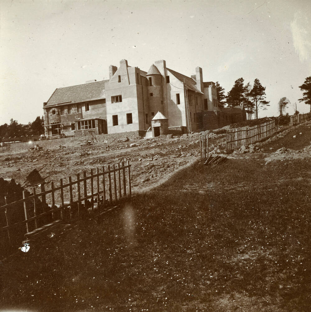 Construction of Hill House. June 6 1903. Looking to the south face of the building.