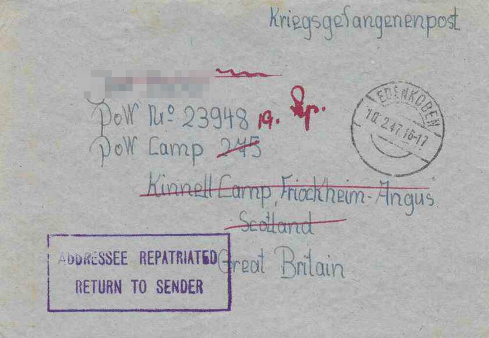 Letter sent to prisoner of war at Kinnell Camp