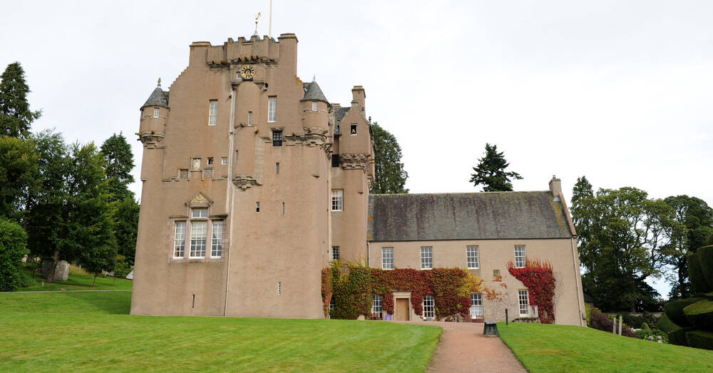 Crathes Castle, main entrance and garden path