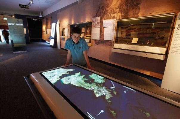 Digital touch-table map at Culloden