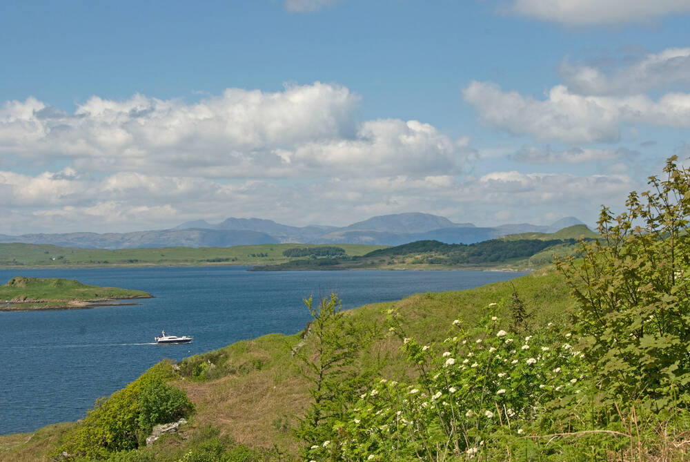 A sunny view over the Sound of Jura from Arduaine Garden