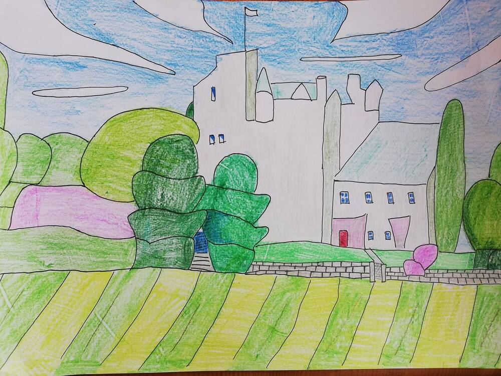 A line drawing in pen of a castle, coloured in with pencils. The white walls of the castle are at the centre of the picture, and a green-striped lawn runs in the foreground. Shaped hedges stand in front of the castle. White clouds swirl across a blue sky.