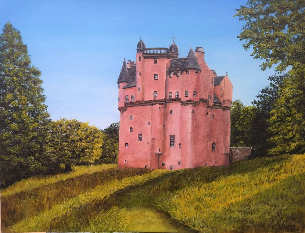 A painting of a pink-walled castle with lots of turrets and small slit windows. The castle is surrounded by green fields and woodland, and stands against a bright blue sky.