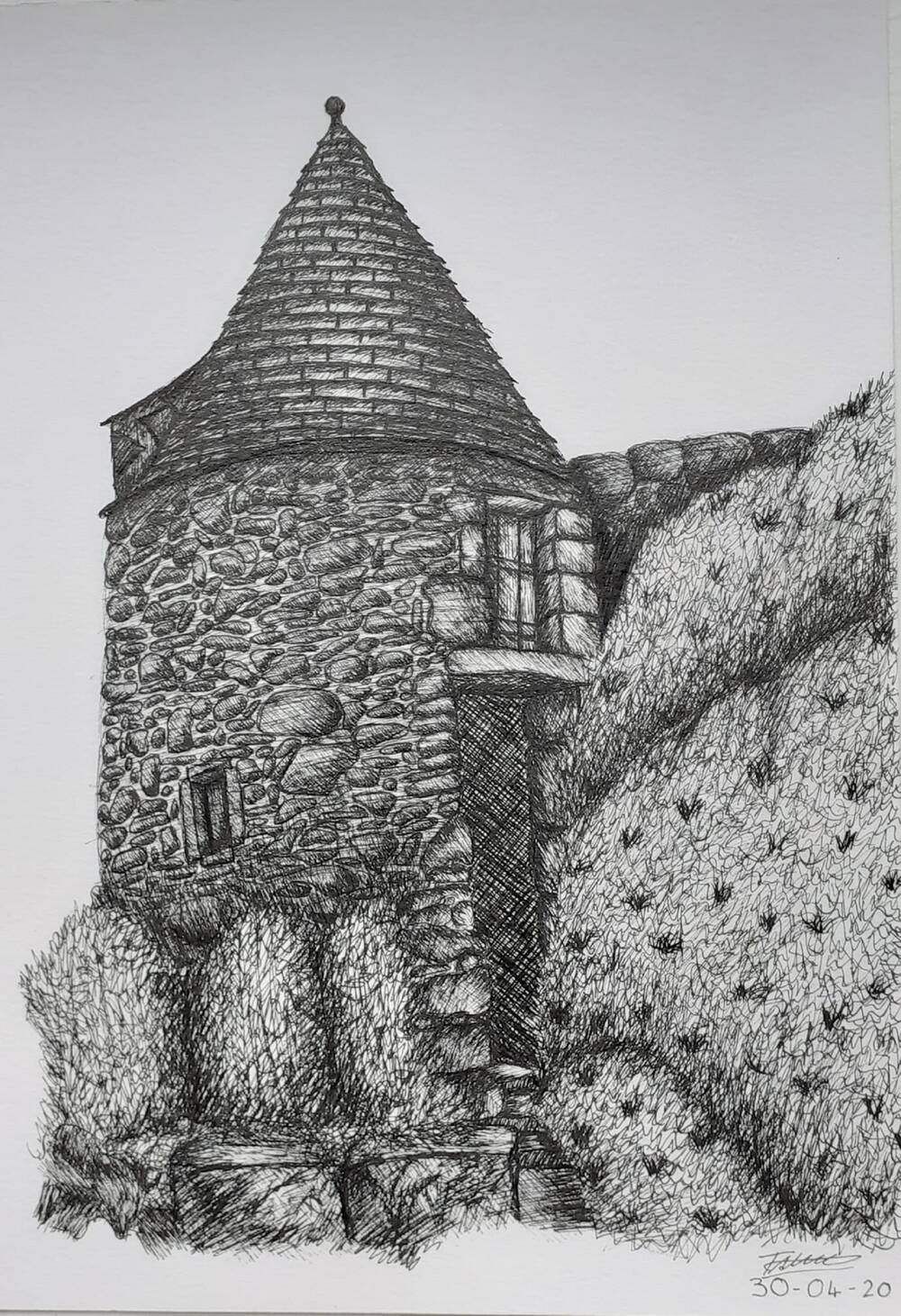 A black and white pencil line drawing of a castle turret, with shrubs in the foreground and a large hedge to the right.