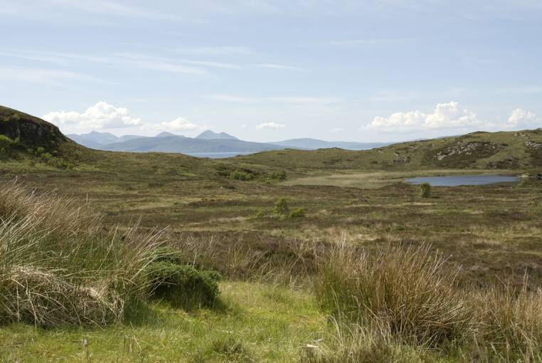 Moorland with hills in the distance at Balmacara.