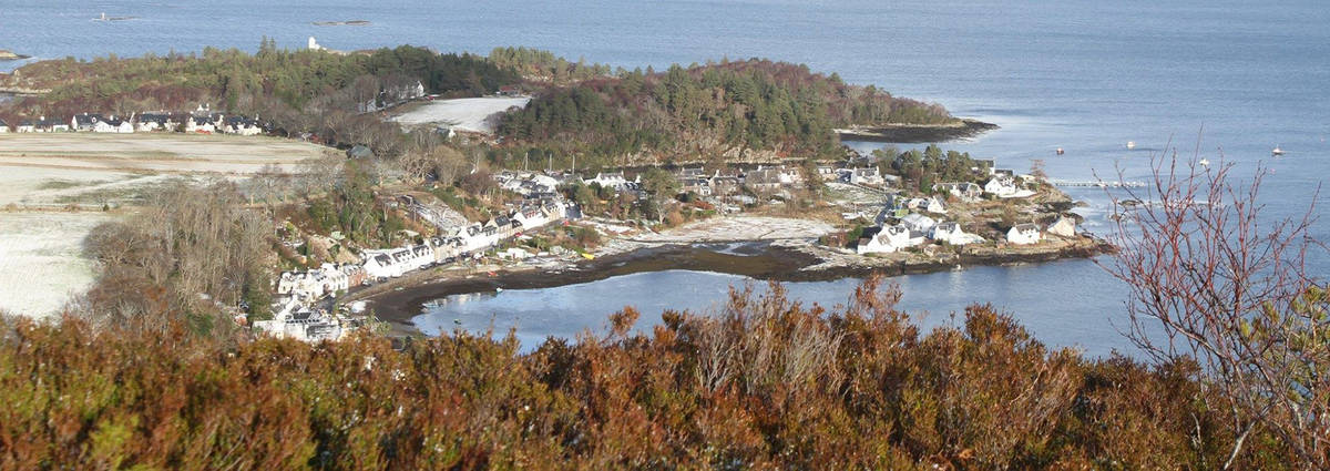 The village of Plockton in winter with snow lying on the ground