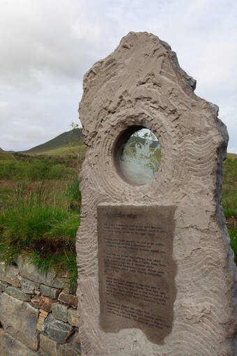 Interpretation stone at the foot of Ben Lawers