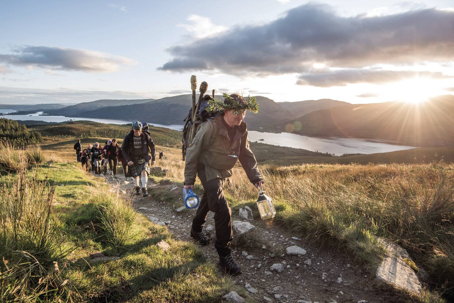 Walkers approach the summit of Ben Lomond on the Torchlight Challlenge