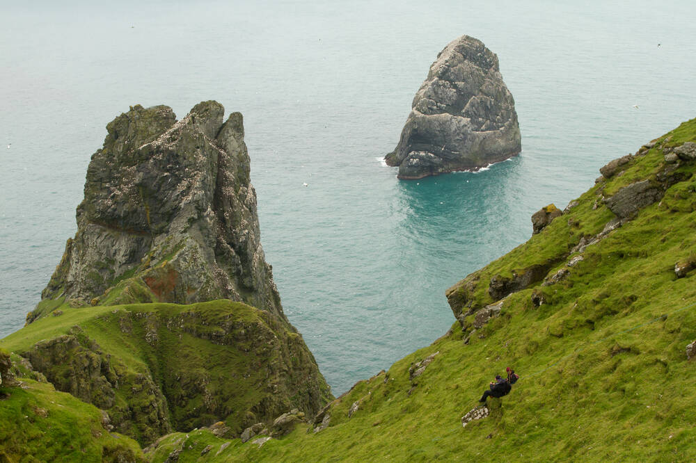 The small outlying islands of Boreray and Soay seen from land, and surrounded by sea