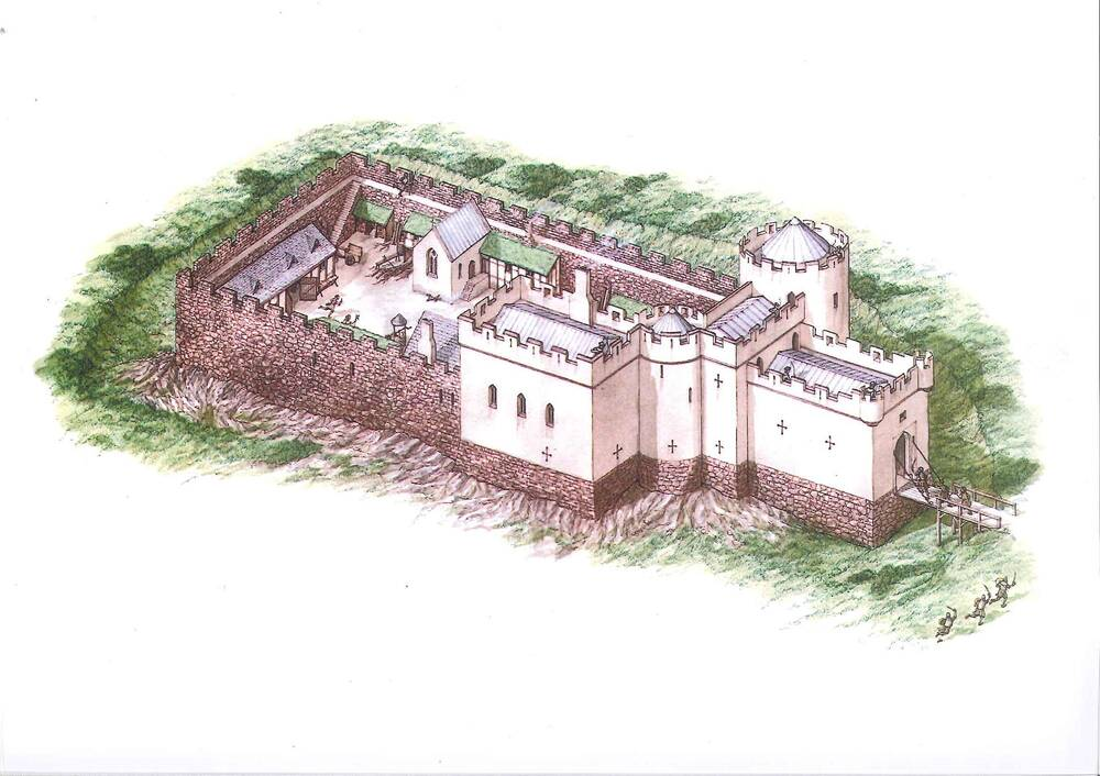 A coloured illustration of a large, defensive castle. There is a large surrounding wall and a drawbridge at the entrance.