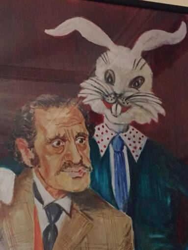A painting of a man in a suit, with a cartoon-style large white rabbit standing behind him, resting its paw on his shoulder.