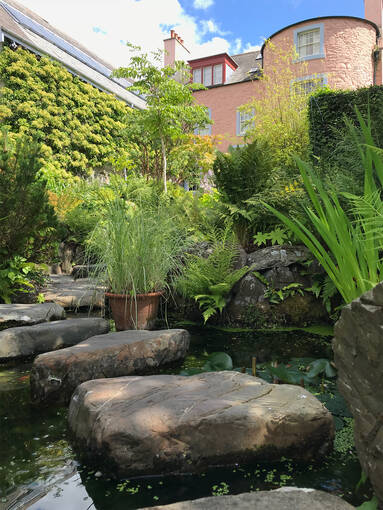 Japanese garden feature in Broughton House Garden